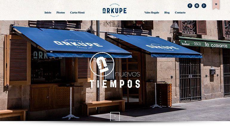 Página Web Restaurante Arkupe Cabecera