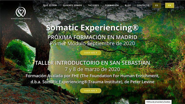 Página Web de Eventos Somatic.Experiencing Cabecera